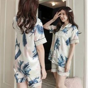 Other - Floral Print Satin Silk Pajamas Set
